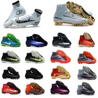 Wholesale Kids Canvas Shoes - 2017 Cristiano Ronaldo Mens CR7 Soccer Shoes Turf Original Soccer Cleats Mercurial Superfly Women Kids Football Shoes