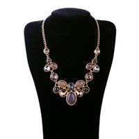 Wholesale Nice Female Necklaces - 2016 New Fashion Party Gemstone Necklaces For Women Europe America Style Luxury Jewelry Bohemian Female Pendants Necklace Nice Gift