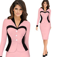 Wholesale Pin Ups - Women Formal Office Work Knitted Dress Womens Pin up Tunic Bodycon Pencil Party Dresses Ladies Long Sleeve Sheath Clothes 2016