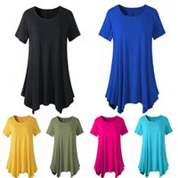 Wholesale Casual Short Tunics - Women Clothing Shirt Dresses Irregular Casual Elastic Loose scoop-neck Short-sleeved Empire Waist Dresses Top Plus Tunic Boho Dresses