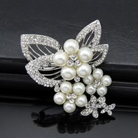 Wholesale Heart Drop Clothing - Classic fashion wild exquisite diamond pearl brooch popular clothing bridal party jewelry brooch wholesale selling
