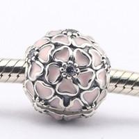 Wholesale Love Clip Pandora - Cherry Blossom Clip Soft Pink Enamel & Clear CZ 100% 925 Sterling Silver Bead Fit Pandora Fashion Jewelry DIY Charm Brand
