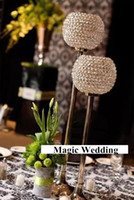 Wholesale Candle Pillars Holders Wholesale - H23 in & 27 in Silver Gold Crystal Globe Votive Pillar Candle Holders With Metal Base Table for Wedding Centerpieces