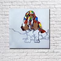 pinturas dos antigos mestres venda por atacado-Pintados à mão 1 peça de arte da parede da lona pinturas animais pintados por velho mestre preço barato por atacado para pequenas empresas pintura moderna do cão
