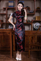 Wholesale Red Black Oriental Dress - Shanghai Story long Chinese cheongsam dress Floral Print Woman's Qipao Dresses Traditional chinese dress Short Sleeve Oriental dress 3 Color