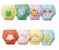 Wholesale toddler waterproof underwear - 4 layers cartoon baby training pants waterproof diaper pant potty toddler panties newborn underwear Reusable pants dog bear frog 8 designs