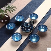 Atacado-7pcs Kung Fu Tea Set Ceramic Tea Cup Teas Pot Azul e Color Glaze Gaiwan Porcelain Cup Tea Service