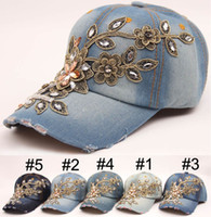 Wholesale Wholesale Denim Hats - European and American Fashion baseball cap Rhinestone Floral woman snapback hats denim jeans hip hop women cowboy leisure caps Sun hat B795