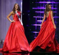 kırmızı akşam önlükleri usa toptan satış-2016 UZUN TEEN ABD Pageant Gelinlik Modelleri A-Line Kırmızı Saten Bateau Kesit Taraf Ünlü Elbise Ruffled Örgün Abiye giyim Custom Made