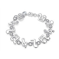 Wholesale jewelry friendship bracelets sterling silver - Music Melody Charms Bracelet 925 Sterling Silver Jewelry Classic Fashion Accessories for Women Girls Link Friendship Christmas Gifts