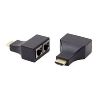 Wholesale hdmi network extender - HDMI To Dual Port RJ45 Network Cable Extender Cat 5e   6 Cable Up to 30Meters Full HD 1080P D32 for HDTV HDPC 100pcs up