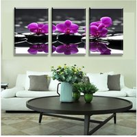 Wholesale Orchids Framed - 3 Piece Free Shipping Hot Sell Modern Wall Painting Purple orchid Home Decoration Flowers Art Picture Paint on Canvas Prints