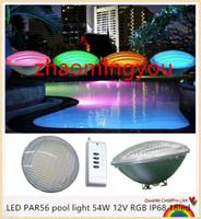 spot ışığı paslanmaz toptan satış-LED PAR56 havuz ışık 54 W 12 V RGB IP68 18led LED Yüzme Havuzu Işık Dış Aydınlatma Sualtı Gölet ışıkları led piscina CE RoHS