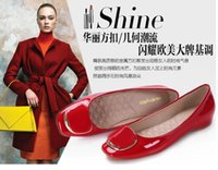 Wholesale Burgundy Patent Leather Platform Heels - Us size:4-9.5 New Arrival Vintage Spring Style Women Lady Shoes Platform Low heel Pumps Party Ladies Wedge Shoes