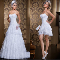 Wholesale Sexy Mini Skirt Wedding Dresses - Custom Made New Style 2 In 1 Wedding Dress 2017 Vintage Sweetheart Sexy Sweetheart Vestidos De Novia Bridal Gowns with Detachable Skirt