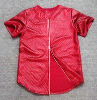Wholesale Leather Shirts Men Zipper - Summer side zipper Men Tyga plaid pyrex ktz Black Kaviar New short Sleeve T shirt Faux Leather men hip hop clothing Kanye Tee