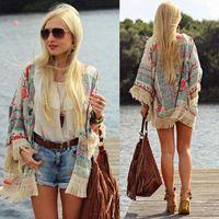 Wholesale Long Lace Kimono - Women Blouse Cape Blazer Jacket Top Summer Chiffon Blouse Silk Summer Cardigan Floral Lace Cardigan Hippie Kimono Coat