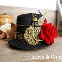 Chapeaux Mini-haut Noir Rouge Pas Cher-Wing Mini gros-Steampunk Engrenage Skull Top Hat Retro Gothic Lolita Fedoras Hat avec Flower and Feather BLACK RED BROWN