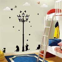 Wholesale Wall Art For Childrens Room - 100pcs ZY030S ZY030L lamppost cat wall stickers home decorations 030. diy adesivo de paredes pvc decals childrens bed playroom mural