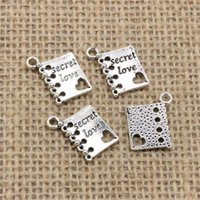 Wholesale Antiques Books - Wholesale 100pcs Charms Tibetan Silver Antique Bronze plated book diary secret love 18*15mm Pendant for Jewelry DIY Hand Made Fitting