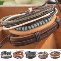 Wholesale Men S Leather Set - 2016 New Fashion 1Set 4pcs Braided Adjustable Leather popular Bracelet Cuff Women Men`s Casual Jewelry gift