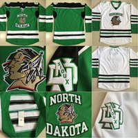 Wholesale Kids Blanks - Youth Kids North Dakota Hockey Jerseys Blank No Name No Number White Green 100% Stitched Fighting Sioux DAKOTA Hockey Jerseys Fast Shipping