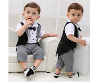 Wholesale Down Romper - Baby Boy Tuxedo Romper Suit Newborn Boys One Pieces Rompers Baby Boy Formal Clothes Infant Gentleman Jumpsuit Bebes Rompe