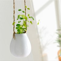 Wholesale Porcelain Home Decoration - Lovely Hanging Ceramic Vase Porcelain Flower Plant Vase Hydroponic Cotainer Home Wall Wedding Party Decoration ZA4570