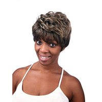 Wholesale Sexy Girls Short Hair - Machine making wig Wavy curly hair wig dark brown new arrival sexy womens girls fashion style classic women natural looking short wig