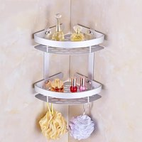 Wholesale bolt holders - Soap Cosmetic Storage Organizer Rack Two Layer Wall Mounted Space Aluminum Bathroom Holder High Quality 26 5yj C R