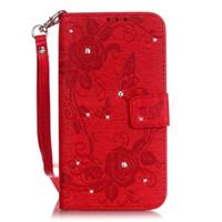ingrosso caso doppio portafoglio iphone-Custodia a portafoglio in similpelle con fiore in rilievo e fiore in blister di diamanti doppia laterale per iPhone 7 6 plus