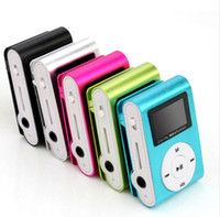 Wholesale pink mini clip mp3 player - Mini Clip MP3 Player with LCD Screen FM support Micro SD TF Card