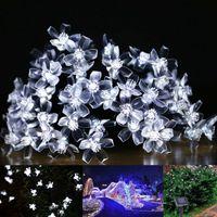 flor solar decorativa venda por atacado-Lâmpadas solares 7 M 50 LEDs Flor Flor Luzes Decorativas À Prova D 'Água branco jardim de fadas Ao Ar Livre Do Natal solar levou luz