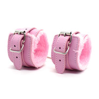 Wholesale Leather Wrist Cuff Locking - Locking Restraint PU Leather Premium Fur Lined Handcuffs Slave Roleplay bondage Flirting Adult Sex Games