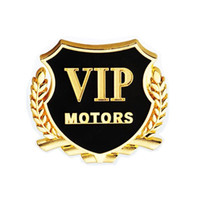 Wholesale Vip Decal Stickers - Wholesale 2pcs set Cool Car VIP Chrome Metal Emblems Badge Car Sticker Decal Door Window Body Auto Decor DIY Metal Sticker Car Decoration