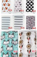 Wholesale Animal Printed Bath Towels - 120*120cm INS Fox Bear Miracle Baby Muslin Swaddle Blanket Newborn Baby Bath Towel Animal Swaddle Blankets Functions Baby Swaddle Blanket