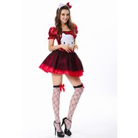 Wholesale Kitty Sexy Costume - Wholesale-Gracefully Red Bow Tulle Overskirt Funny Adult Girls Kitty Cat Costume Cotume Women Sexy Halloween and Animal Costume L1392