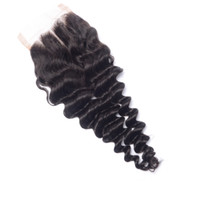 Wholesale unprocessed virgin hair three part closure resale online - Brazilian Virgin Hair Lace Closure Bleached Knots Unprocessed Human Hair Lace Top Closure Malaysian Peruvian Indian Deep Wave Closure