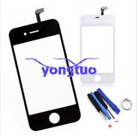 Wholesale Lenses Iphone4 - For Apple Iphone4 4s white color Outer Touch Panel Front Glass Lens, Cover Screen for iphone 4G 4S Touch Panel