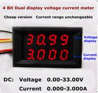Wholesale Bit Dc - New arrival 4 bit 5 wires DC 0-33V 3A Red Dual LED Display Digital Ammeter Voltmeter voltage current tester Ampere meter