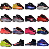 Wholesale Soccer Cleats For Boys - Mens Women Kids Football Soccer Shoes Boots Mercurial Superfly V FG TF Turf CR7 Youth Soccer Cleats For Boys Children Cristiano Ronaldo 2016