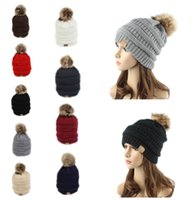 Wholesale Label For Cable - 2017 New CC Label Fur Poms Beanie Winter Headware Knitted Cable Skull Caps Beanie Outdoor Hats for Women Men