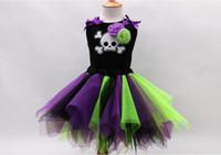 Wholesale Skeleton Child - Girls Lace Dresses Children Halloween Lace Tutu Dresses Girls Skeleton Pattern Dress Party Dress 6 p l