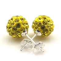 Wholesale Shamballa Drop Silver Earrings - 10mm Yellow Disco Balls Crystal Shamballa Earring Studs Silver Plated For Christmas 20 Pairs Wholesale Drop Shipping