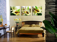 Beautiful Greeny Lily Flower Floral Painting Impression sur giclée sur toile Home Decor Wall Art Set30140
