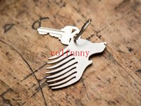 Wholesale Cutter Comb - 100pcs lot Fast Shipping Bread Comb Wolf Beer Opener Keychain Box Cutter Pry Keychain Pocket Bottle Opener Tool Pocket Comb