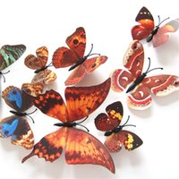 Wholesale Butterfly Refrigerator - New Beautiful butterfly Refrigerator stick 3d stickers 3d butterflies pvc removable wall stickers butterflys Wedding room decorationA0319