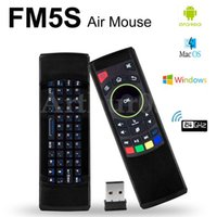 Wholesale Tablet Ir Remote Control - FM5s Mini Wireless Keyboard Six Axis Gyroscope 2.4GHz Fly Air Mouse Remote Control IR Learning For S912 Android TV Box Tablet Pc PK MX3 T3