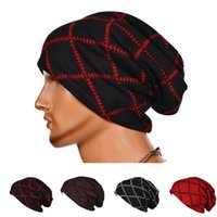 Wholesale Mens Sports Beanies - Hat Casual Mens Womens Skullies Cap Autumn Winter Unisex Large Plaid Warm Sport Ski Skull Cap Fashion Knit Beanie Woman Man Hats