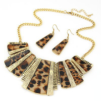 Wholesale Vintage Agate Jewelry - 2016 Vintage Square Stone Leopard Alloy Pendant Necklace Earring Set Gold Necklace Earrings Jewelry Set For Women Accessories